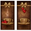 Two love banners with coffee, vector illustration — Stok Vektör