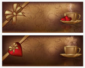 Two valentines day banners with coffee, vector illustration — Stock Vector