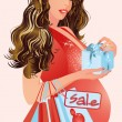 Pregnant woman with shopping bags, vector illustration — Stok Vektör