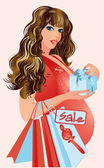 Pregnant woman with shopping bags, vector illustration — Wektor stockowy