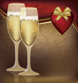 Two Champagne Glasses with Heart. Vector illustration — Vecteur