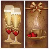 Due striscioni di san valentino, illustrazione vettoriale — Vettoriale Stock