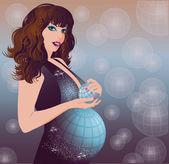 Earth pregnant women, vector illustration — Stock Vector