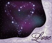Amore banner, cuore delle stelle nel cielo notturno, illustrazione vettoriale — Vettoriale Stock
