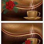 twee liefde banners met koffie, vectorillustratie — Stockvector