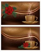 Amor dos pancartas con café, ilustración vectorial — Vector de stock