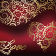 Vettoriale Stock : Love card with golden heart, vector illustration