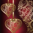 图库矢量图片: Love banners with golden hearts, vector illustration