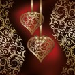 Wektor stockowy : Love background with two golden hearts, vector illustration