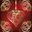 Vettoriale Stock : Love postcard with golden heart , vector illustration