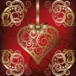 爱用金色的心,矢量插画明信片 — 图库矢量图片