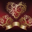 Greeting love card with golden heart, vector illustration — 图库矢量图片