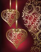 Láska bannery se zlatým srdcem, vektorové ilustrace — Stock vektor
