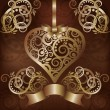 Invitation love card with golden heart, vector illustration — Διανυσματικό Αρχείο