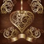 邀请爱卡以金黄的心,矢量图 — 图库矢量图片