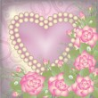 Valentine's Day postcard with heart and pearls, vector illustration — Imagen vectorial
