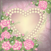 Valentine's Day background with heart and pearls, vector illustration — Stok Vektör