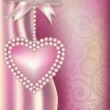 Valentine's Day vertical banner with pearls heart , vector illustration — Stock Vector