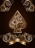 Spade ace poker spelkort, vektor illustration — Stockvektor