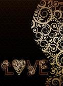 Love postcard, vector illustration — Stock Vector