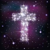 Kreuz in sternenhimmel, vector illustration — Stockvektor