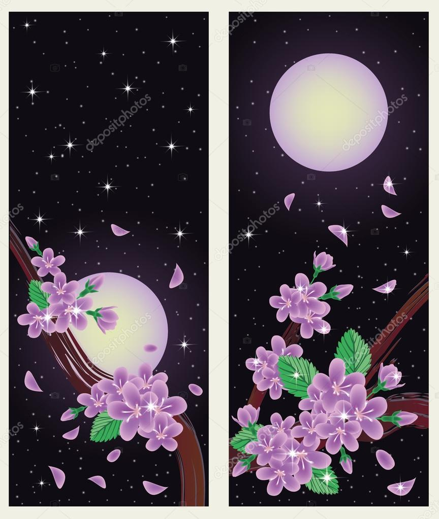春天樱花横幅.矢量插画