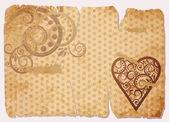 Vintage Old Paper Love card, vector illustration — Stock Vector