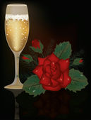 Red Rose flower and champagne, vector illustration — Vector de stock