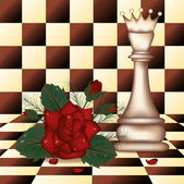 White Chess Queen and red rose. vector illustration — Stock Vector