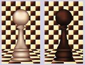 белая и черная шахматная пешка, векторные иллюстрации — Cтоковый вектор