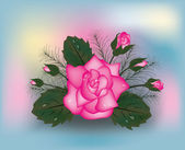 Pink rose background, vector illustration — Vettoriale Stock