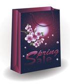 Spring Sale shopping bag, vector illustration — Stock Vector