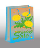 Spring Sale shopping bag with dandelion, vector illustration — Stock Vector