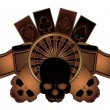 Casino poker elements with skulls isolated, vector illustration - Stock Vector