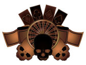 Casino poker elements with skulls isolated, vector illustration — Stock Vector