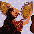 Stock Vector: Flamenco spanish girl and guitar, vector illustration