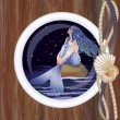 Beautiful night mermaid in porthole vector illustration — Stock Vector