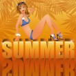 Summer time card with sexy girl in bikini, vector illustration — Imagens vectoriais em stock