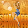 Summer time card with beautiful sexy woman, vector illustration — Imagen vectorial