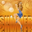 Summer time card with beautiful sexy woman, vector illustration - Stock Vector