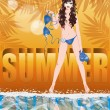 Summer time card with sexy girl in topless, vector illustration — Vector de stock