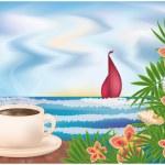 Summer Breakfast. vector illustration — Stock Vector