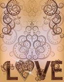 Wedding love invitation card, vector illustration — Stock Vector