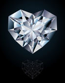 Diamond heart jewel, vector illustration — ストックベクタ