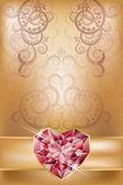 Nozze carta di invito con cuore di rubino, vettoriale — Vettoriale Stock