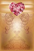 Matrimonio auguri con cuore di rubino, vettoriale — Vettoriale Stock