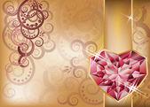 Nozze carta di congratulazione con cuore di rubino, vettoriale — Vettoriale Stock