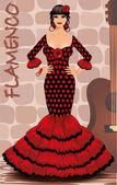 Spanish flamenco girl postcard, vector illustration — Stock Vector