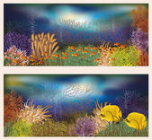 Underwater world two banners, vector illustration — Stock Vector