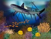 Onderwater behang met schip en shark, vectorillustratie — Stockvector